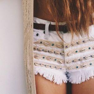 LF Carmar Seashell Lace White Denim Shorts.